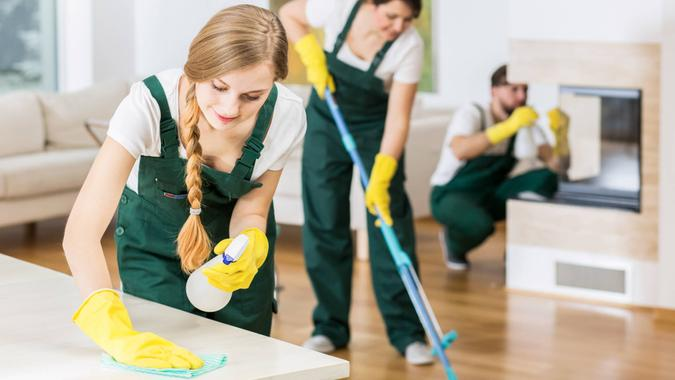 House cleaning conducted by professionals