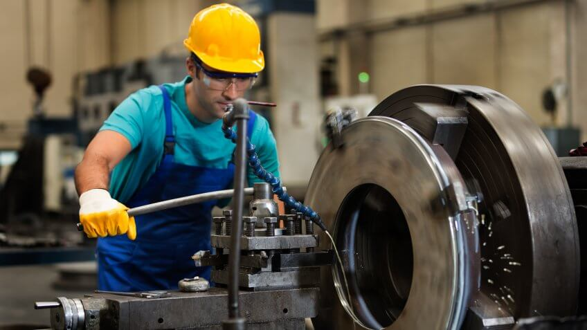Metal Worker in a Factory.
