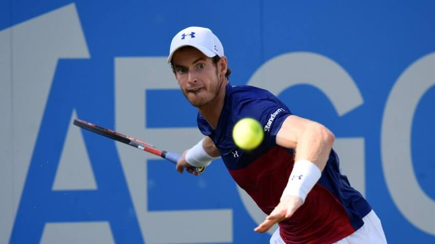 Andy Murray playing tennis at the Aegon Tennis Queen's Club in London, UK.