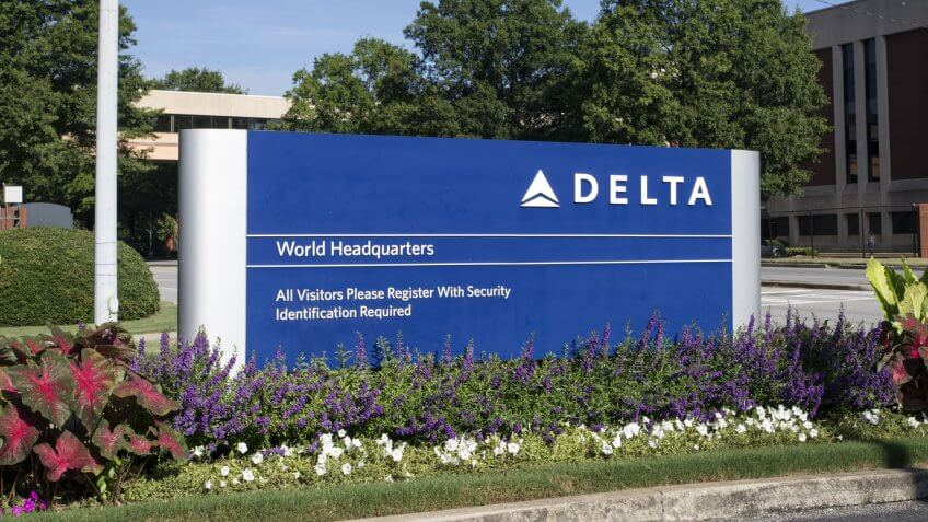 ATLANTA, GA - JULY 29: An entrance to the Delta Air Lines World Headquarters complex located in Atlanta, Georgia on July 29th, 2016.