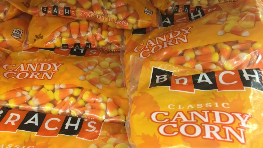 SEPTEMBER 12 2017 - Minneapolis, MN: A pile of Brachs Candy Corn bags for sale during the Halloween season.