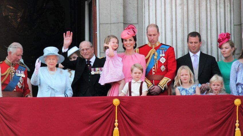Queen Elizabeth & Royal Family, princess charlotte Buckingham Palace, London June 2017- Trooping the Colour Prince George, William on Balcony Queen Elizabeth's Birthday, June 17, 2017 London, UK.