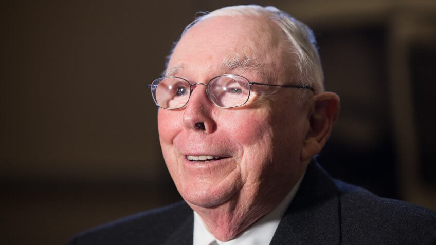 Charlie Munger, vice president of Berkshire Hathaway is interviewed after the annual Berkshire Hathaway shareholders meeting held at the CenturyLink Center in Omaha, Neb.
