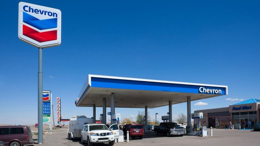Kayenta, Arizona, USA - May 12, 2013: People parking at the Chevron gas station to fill up on gas before continuing on their journey.