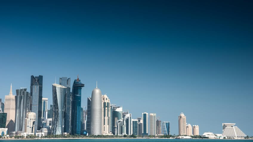 doha skyline of the downtown in Qatar.