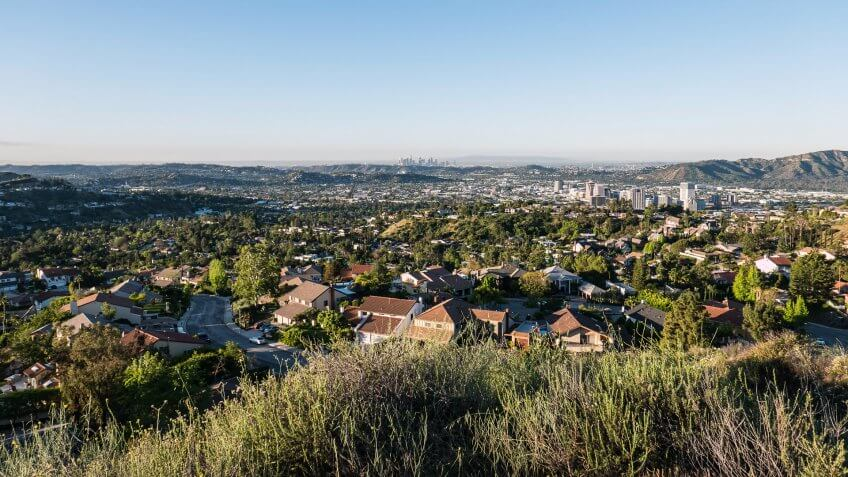 Glendale California morning view towards downtown Los Angeles.