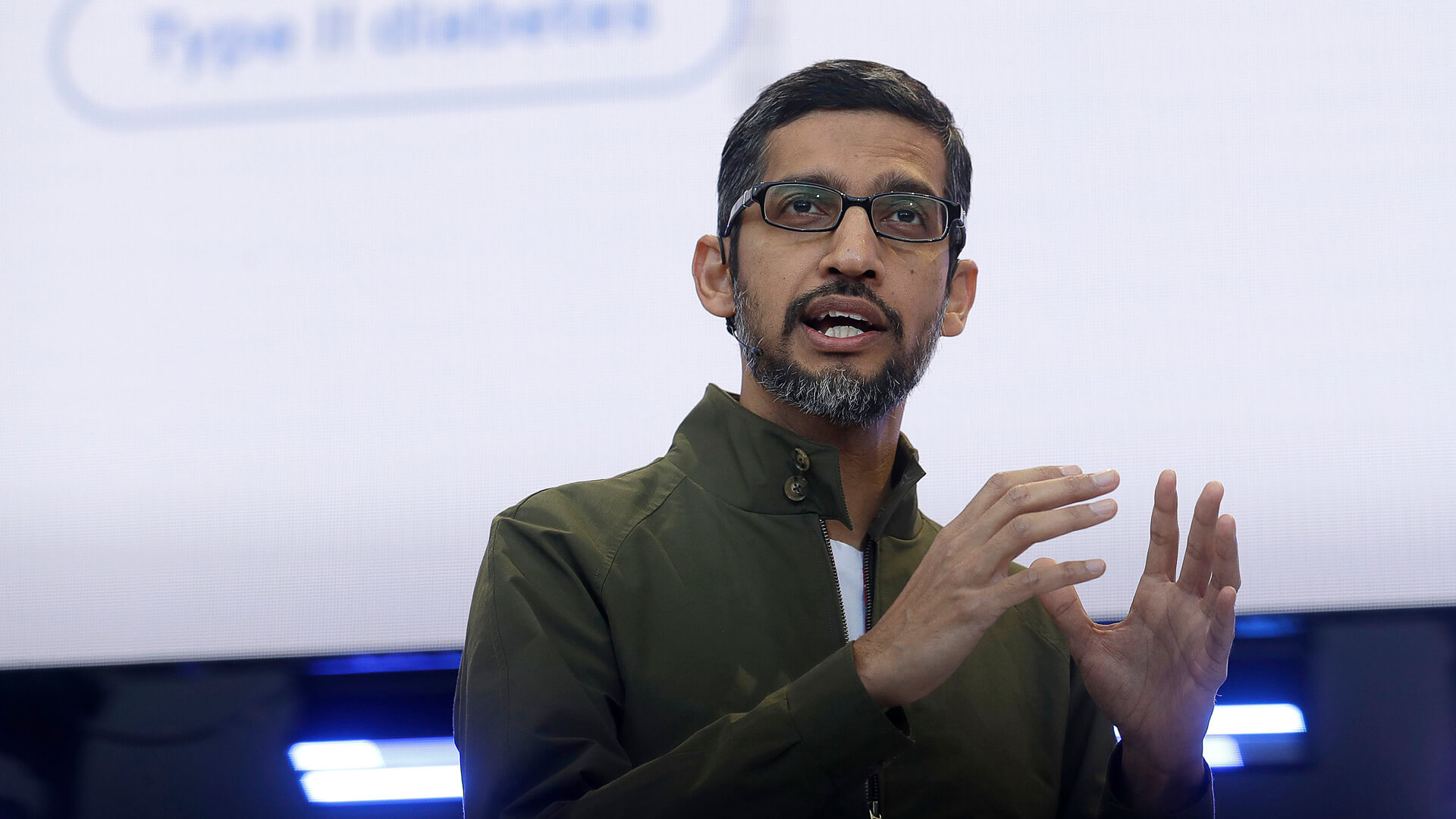 Photo by Jeff Chiu/AP/REX/Shutterstock Google CEO Sundar Pichai speaks at the Google I/O conference in Mountain View, Calif.