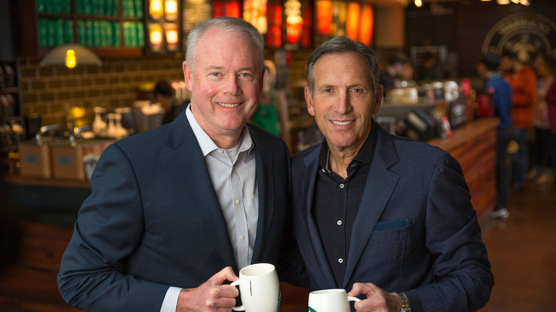 Howard Schultz and Kevin Johnson Starbucks CEO
