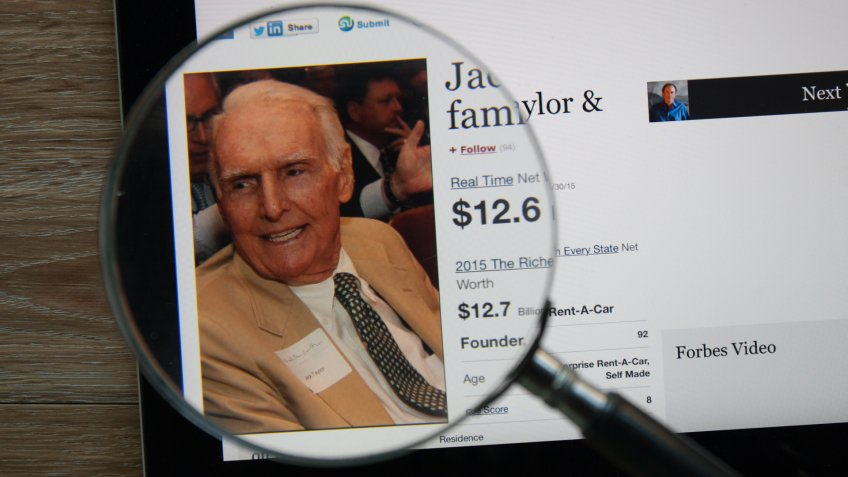 CHIANGMAI, THAILAND - April 30, 2015: Photo of Forbes article page about Jack Taylor & family on a ipad monitor screen through a magnifying glass.