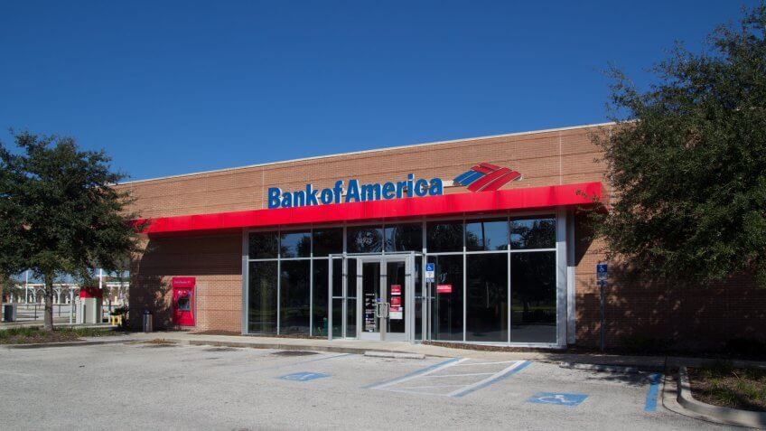 JACKSONVILLE, FLORIDA - NOVEMBER 28, 2013: A Bank of America branch bank located in Jacksonville.