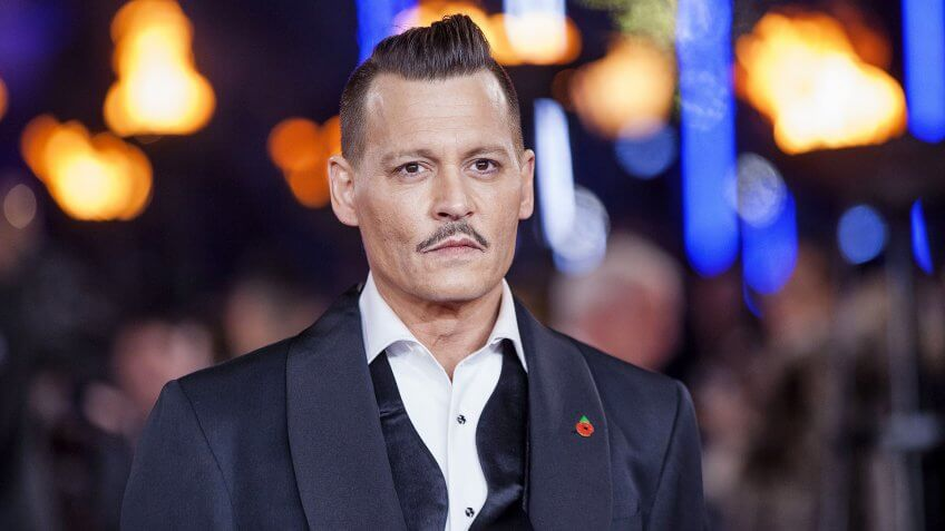Mandatory Credit: Photo by David Dettmann/REX/Shutterstock (9188068s)Johnny Depp'Murder on the Orient Express' film premiere, Arrivals, London, UK - 02 Nov 2017.