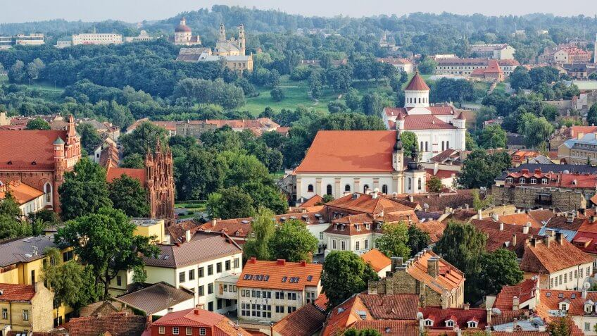 Bird's eye view of Vilnius old town from Gediminas' Tower, Lithuania.
