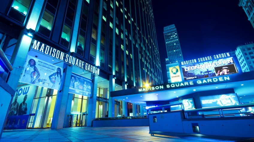 New York City, USA - September 13, 2012:  Entrance to Madison Square Garden in New York on the night of Sept.
