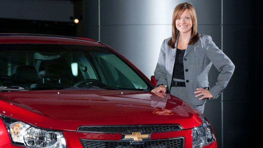 General Motors Senior Vice President Global Product Development Mary Barra with a 2011 Chevrolet Cruze at GM World Headquarters in Detroit, Michigan Thursday, September 2, 2010.