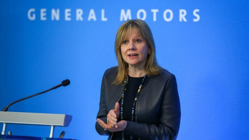 General Motors Chairman and CEO Mary Barra talks with media prior to the start of the 2017 General Motors Company Annual Meeting of Stockholders Tuesday, June 6, 2017 at GM Global Headquarters in Detroit, Michigan.