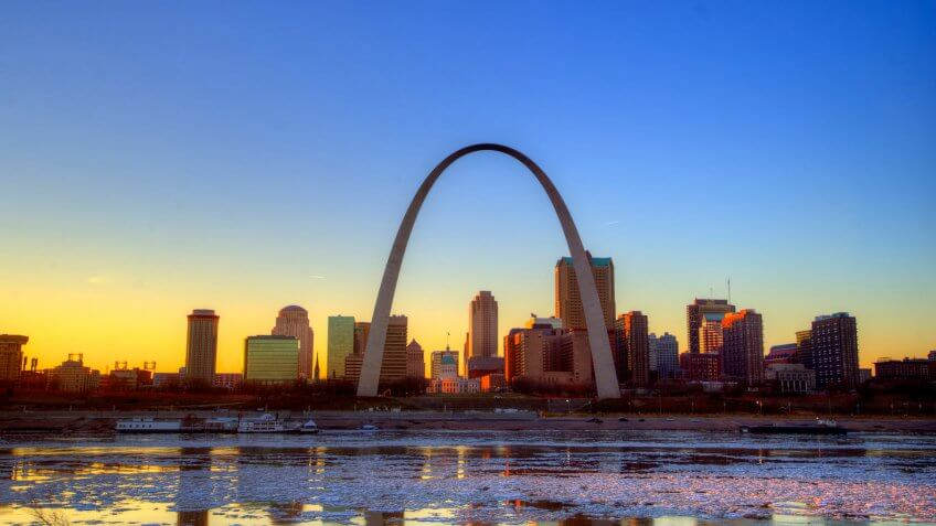 iconic Gateway Arch at sunset in St. Louis Missouri