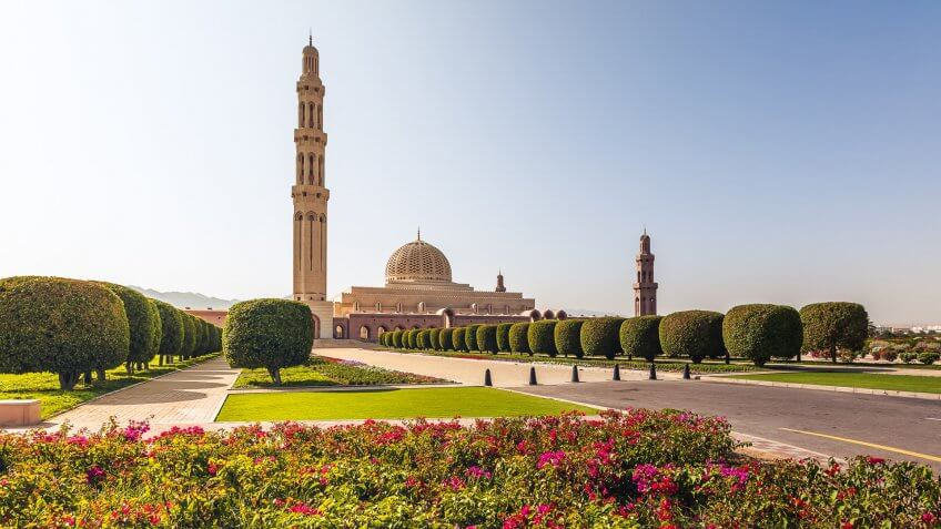 beautiful sultan qaboos grand mosque in muscat, oman.