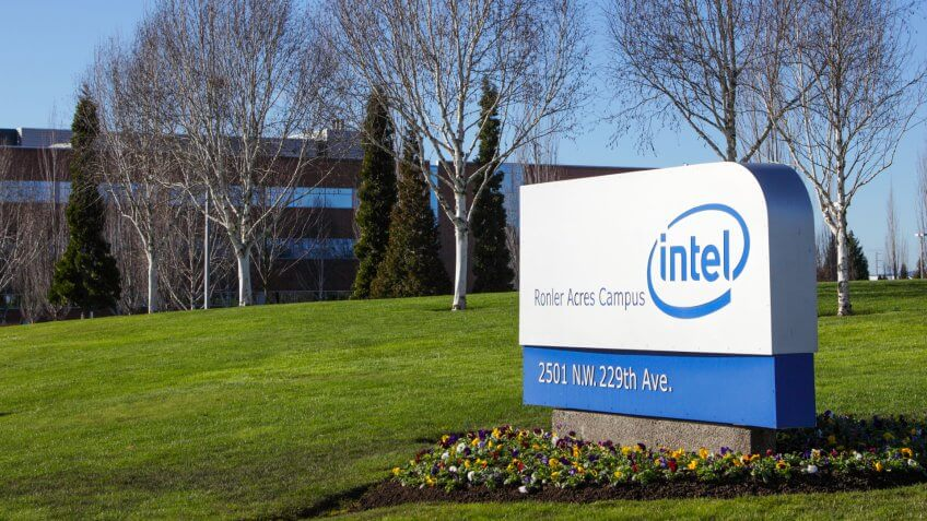 Hillsboro, Oregon, USA - February 19, 2011: Just west of Portland is the largest Intel manufacturing and research facility in the world producing the latest semiconductor products.