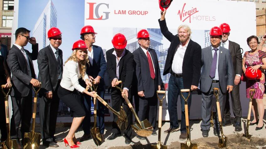 Photo by Charles Sykes/Invision/AP/REX/Shutterstock (9115307b)Sir Richard Branson along with Raul Leal, CEO of Virgin Hotels and development company, Lam Group, break ground for Virgin Hotels New York City at 1227 Broadway, on in New YorkVirgin Hotels Groundbreaking, New York, USA.