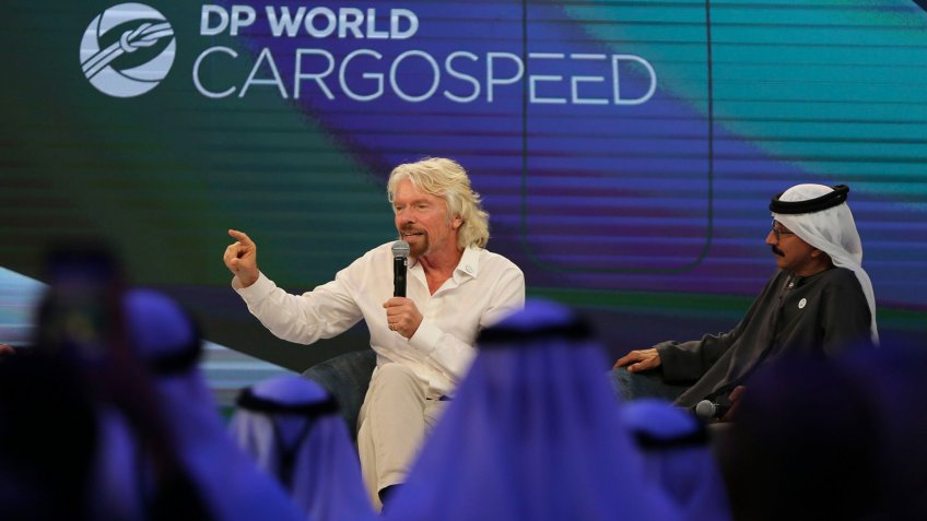 Photo by Kamran Jebreili/AP/REX/Shutterstock (9645731b)Sultan Ahmed bin Sulayem, Richard Branson.