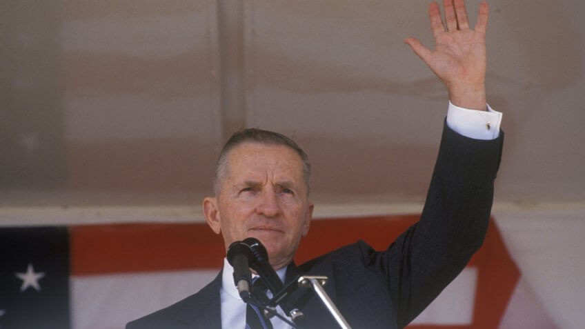 Millionaire businessman and Presidential candidate Ross Perot speaks at a petition drive in Orange County California.