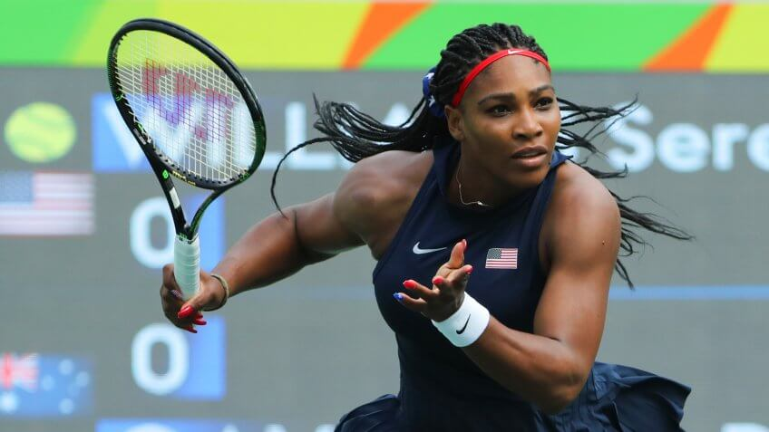 RIO DE JANEIRO, BRAZIL - AUGUST 7, 2016: Olympic champion Serena Williams of United States in action during singles first round match of the Rio 2016 Olympic Games at the Olympic Tennis Centre.