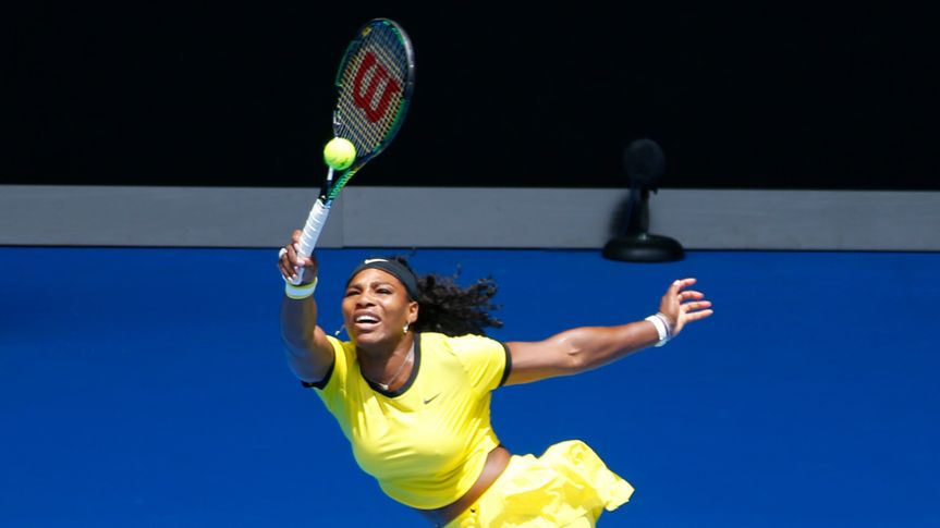 MELBOURNE, AUSTRALIA - JANUARY 24, 2016: Twenty one times Grand Slam champion Serena Williams in action during her round 4 match at Australian Open 2016 at Rod Laver Arena in Melbourne.