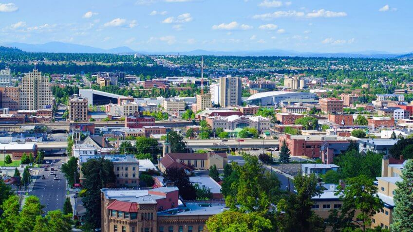 """Spokane, United States - July 21, 2012: View of downtown Spokane as seen from an elevated viewpoint along the South Hill."