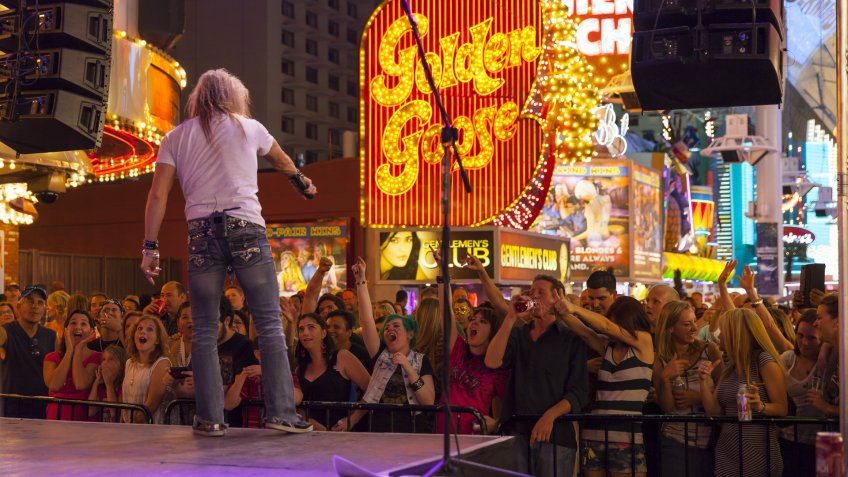 The Fremont Street Experience stage performance