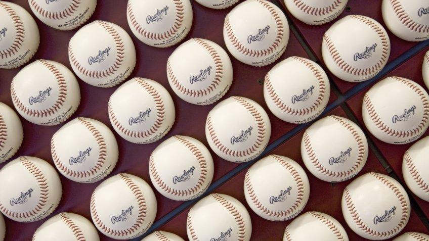 A pattern of Rawlings Major League Baseballs at Citizens Bank Park, Philadelphia, Pennsylvania.