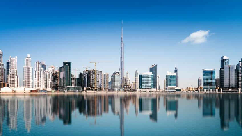 Dubai skyline, United Arab Emirates.