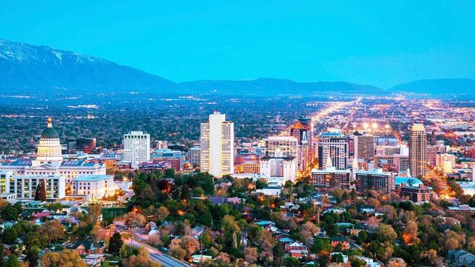 Salt Lake City Utah skyline at dusk