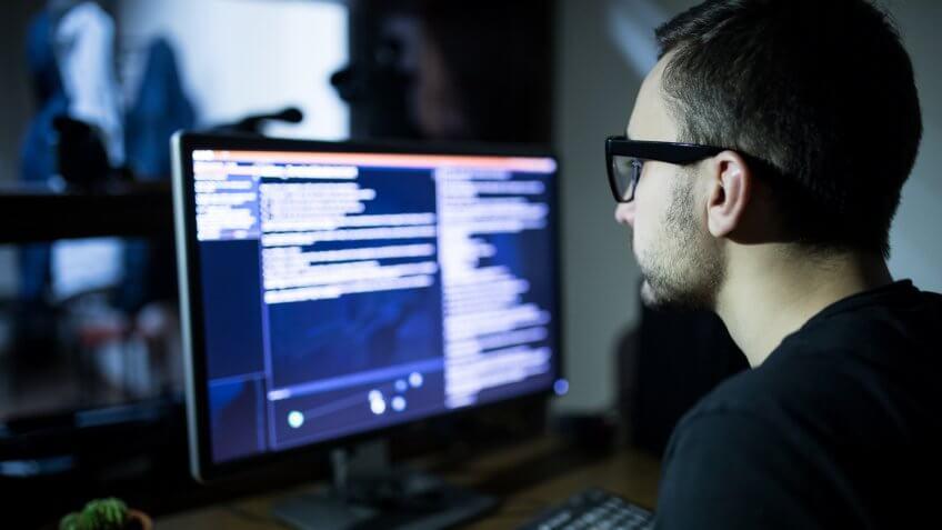 Hacker attack the server in the dark.