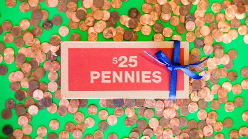 box of pennies.