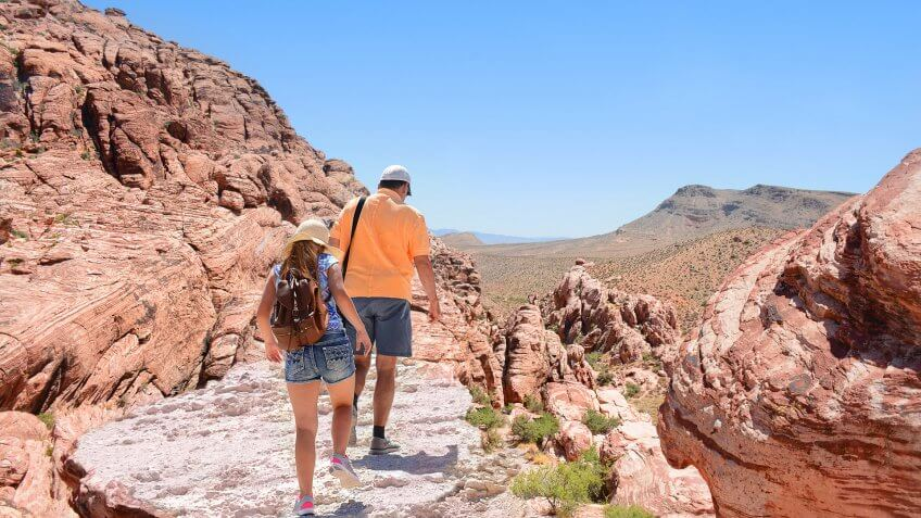 couple hiking in the desert