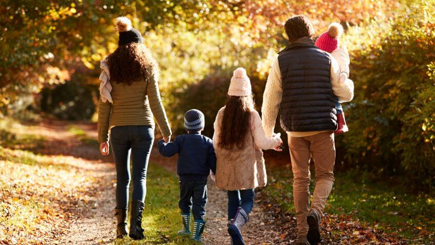 Family Enjoying Autumn Walk In Countryside