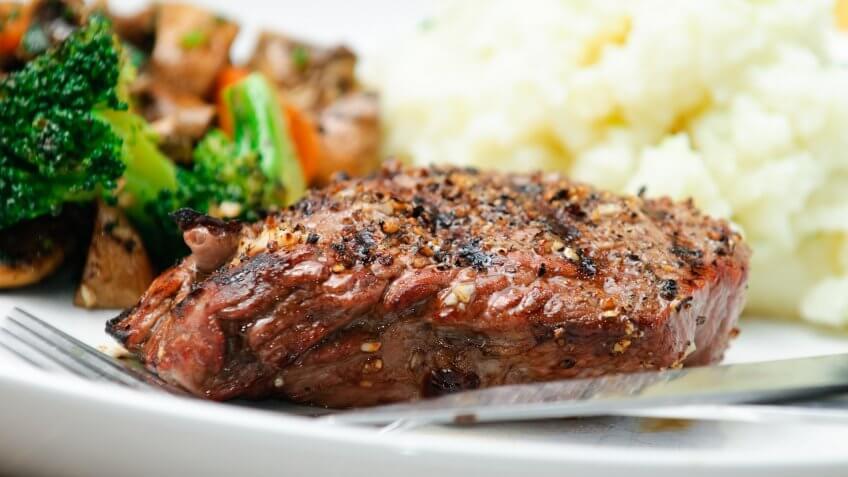juicy steak on plate