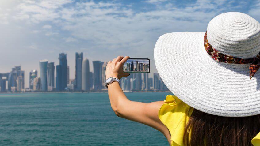 skyline of Doha, Qatar, on a sunny day