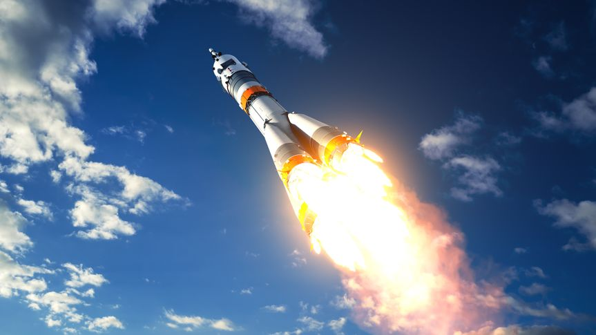 Carrier Rocket Takes Off To The Clouds.