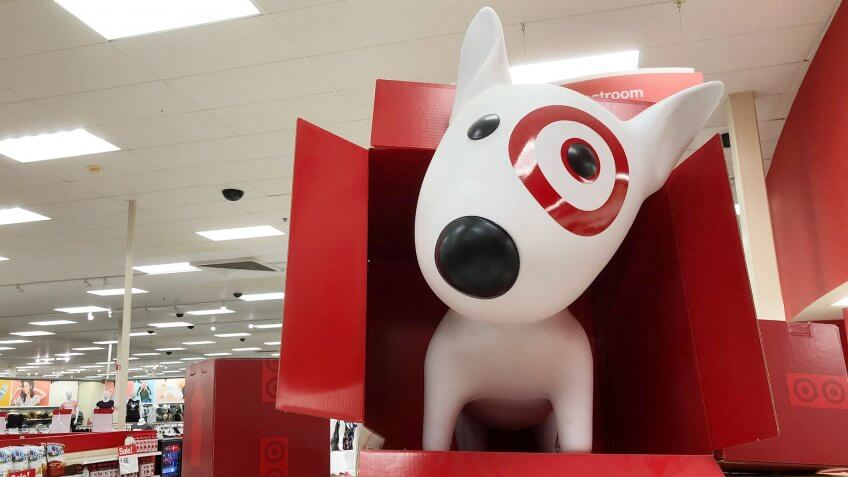 Target retail store dog mascot in box display Saint Augustine, Florida USA.