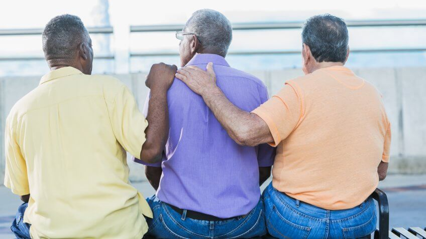 Rear view of three multi-ethnic senior men sitting together on a park bench.