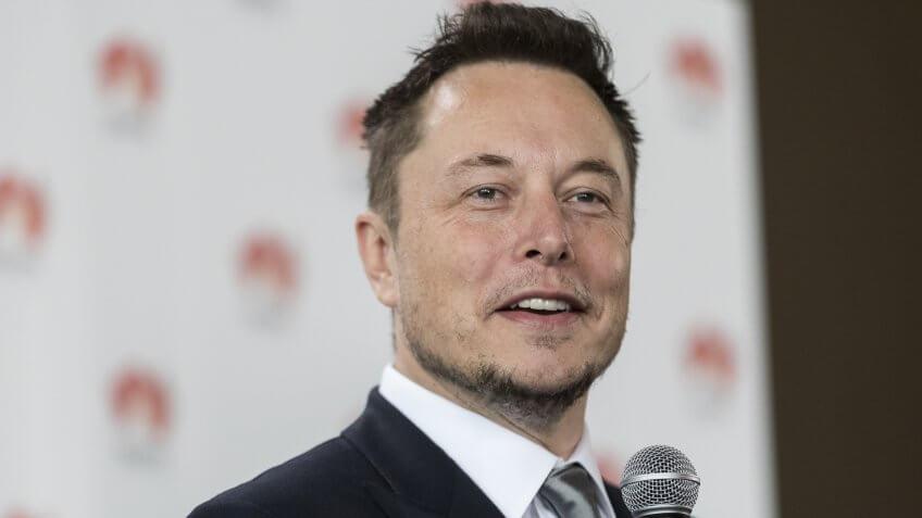 BEN MACMAHON/EPA/REX/ShutterstockElon MuskSouth Australia Government announces plans to build world's biggest lithium ion battery, Adelaide - 07 Jul 2017Tesla CEO Elon Musk speaks during a press conference at the Adelaide Oval in Adelaide, South Australia, Australia, 07 July 2017.
