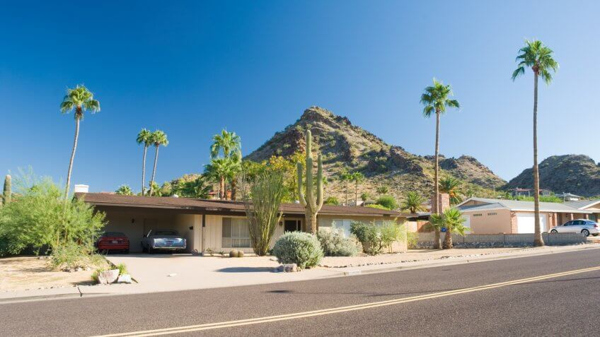 A house in a residential neighborhood of Phoenix near Squaw Peak.