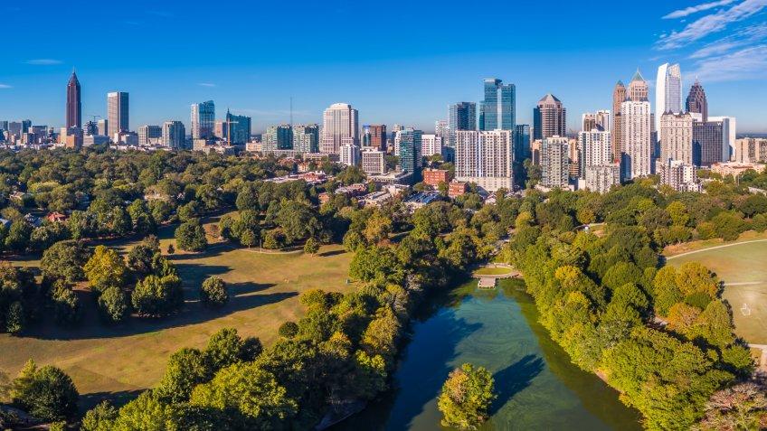 Aerial view of the Atlanta, Georgia Skyline.