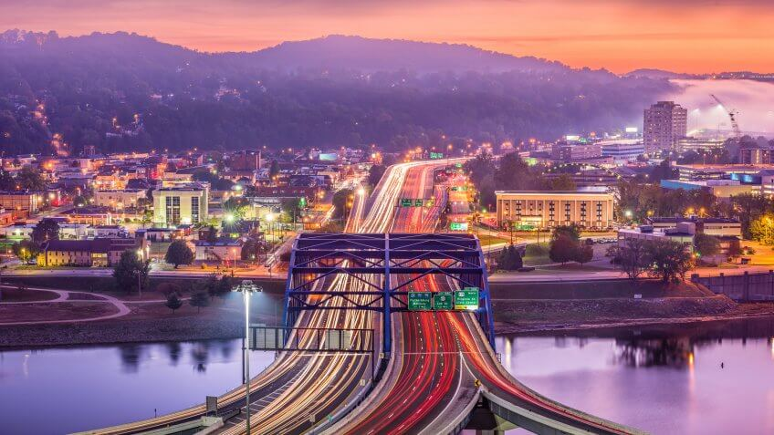 sunset over Charleston West Virginia