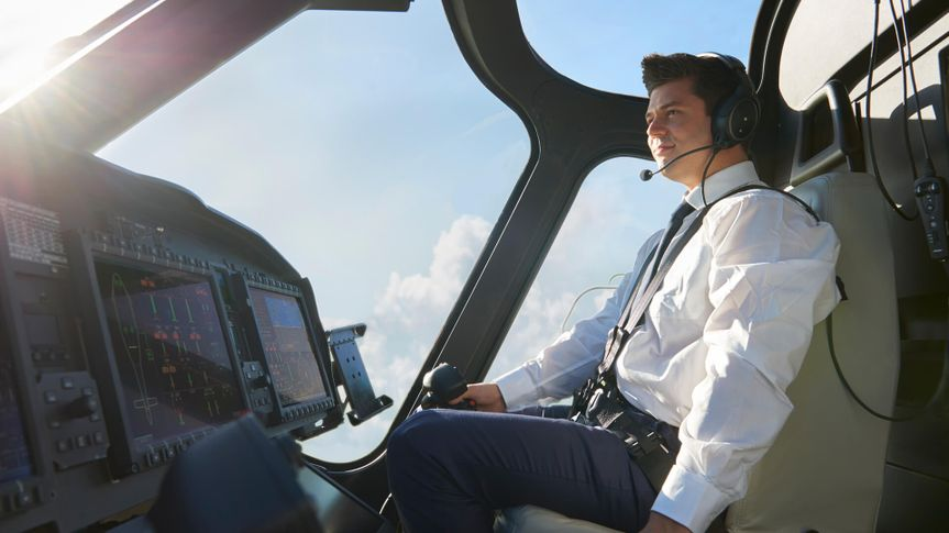 commercial pilot in the cockpit