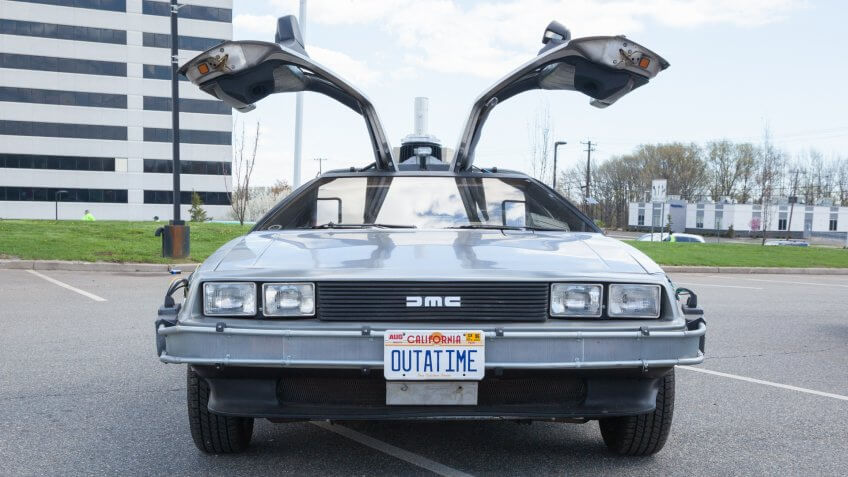 Woodbridge, New Jersey - April 26, 2015:  A replica of the Back to the Future DeLorean is shown at a local car show.