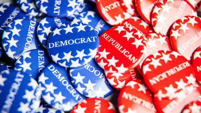 Democrat Republican US political party pins