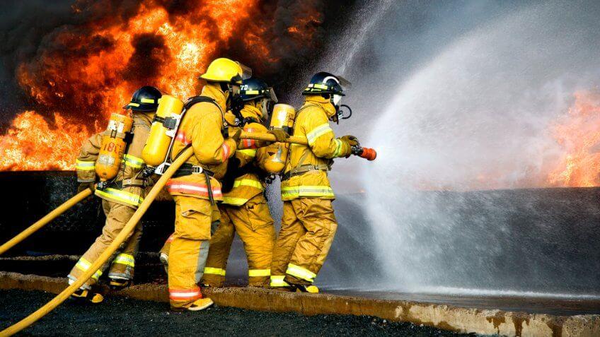 Fire Fighters battle a blaze.
