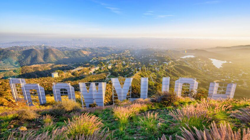 looking over the Hollywood sign in Los Angeles California